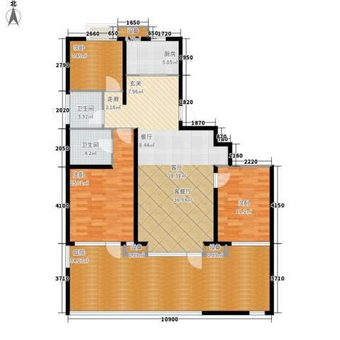 玉带二村3室1厅2卫1厨166.00㎡户型图