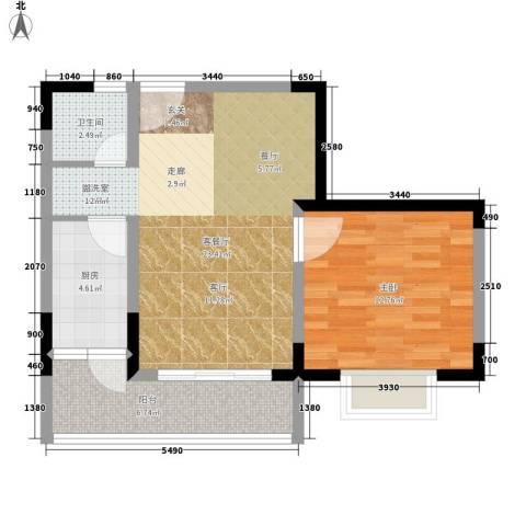 五指山澜湖岸边度假小区1室1厅1卫1厨57.85㎡户型图