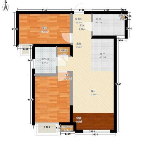 奥林匹克花园2室1厅1卫1厨69.36㎡户型图