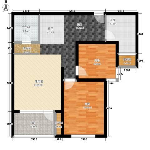 八里庄北里2室0厅1卫1厨114.00㎡户型图
