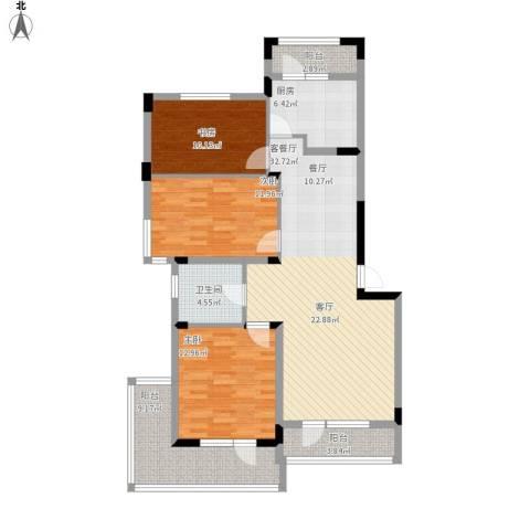 中铁・人杰水岸3室1厅1卫1厨135.00㎡户型图