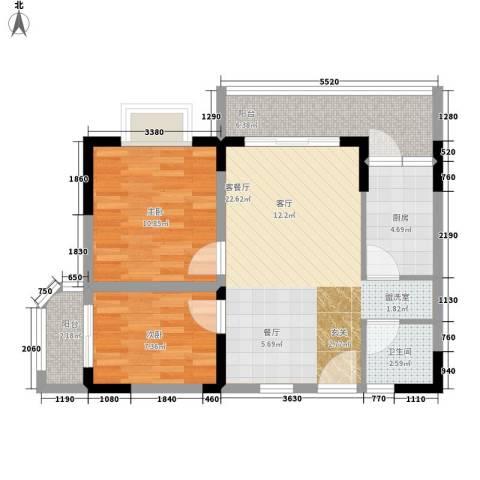 五指山澜湖岸边度假小区2室1厅1卫1厨66.00㎡户型图