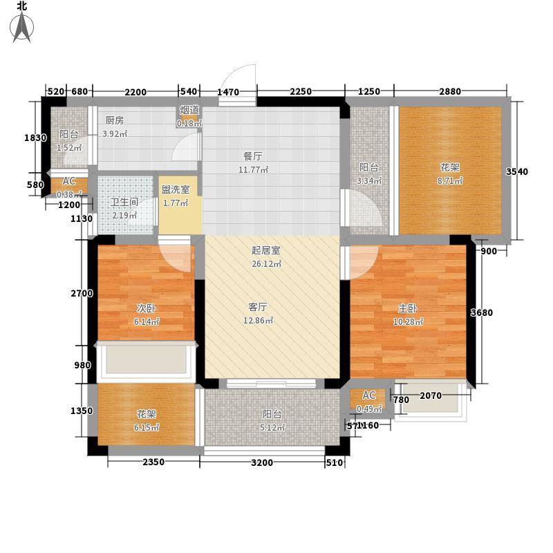 佳兴花园城87.95㎡1#6#8#楼b2户型