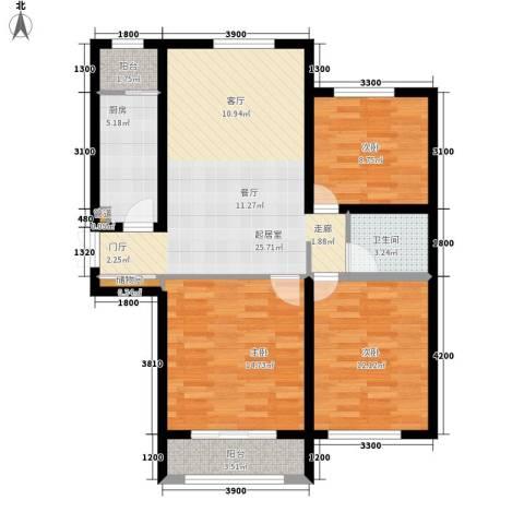 闽东国际城3室0厅1卫1厨109.00㎡户型图