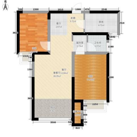 奥林匹克花园2室1厅1卫1厨64.88㎡户型图
