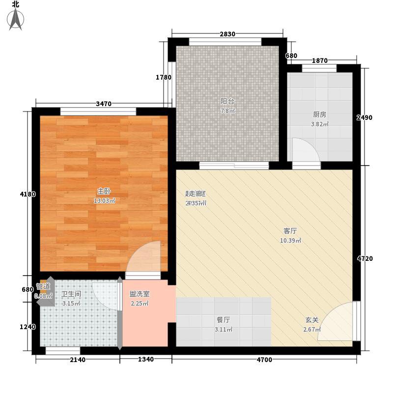 同创碧海城北苑蓝色假日57.39㎡1号楼4单元D1-2型1室户型