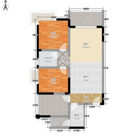 五指山澜湖岸边度假小区2室1厅1卫1厨93.76㎡户型图