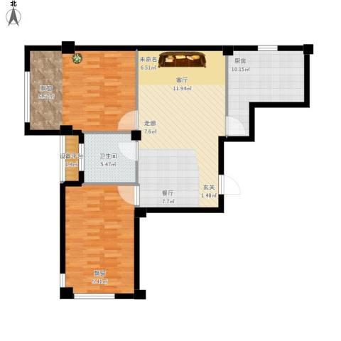 中河名庭2室1厅1卫1厨112.00㎡户型图