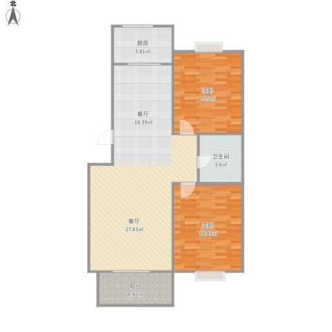 欧美风情小镇2室1厅1卫1厨124.00㎡户型图