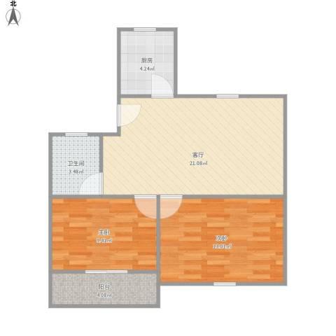 共康七村2室1厅1卫1厨75.00㎡户型图