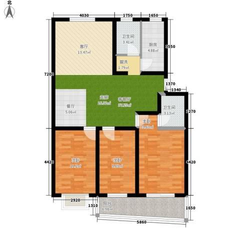 好家园经济适用房3室1厅2卫1厨104.00㎡户型图