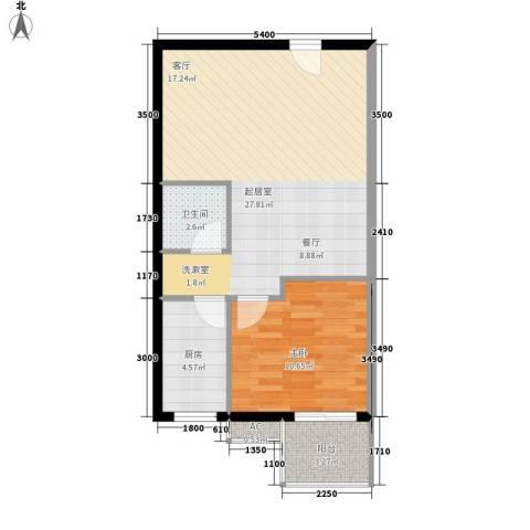 长房中庭国际1室0厅1卫1厨73.00㎡户型图