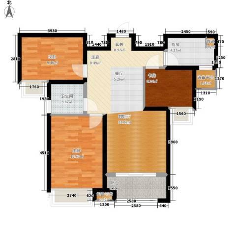 奥林匹克花园3室1厅1卫1厨82.51㎡户型图