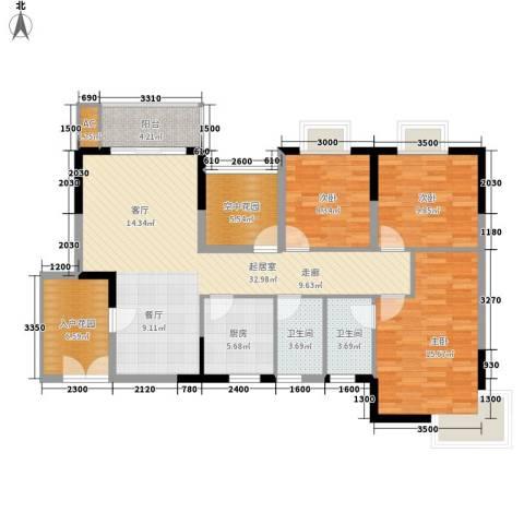 鸿基橄榄君庭3室0厅2卫1厨113.00㎡户型图