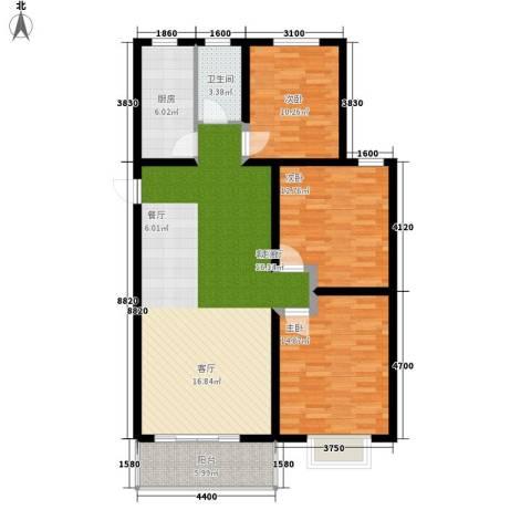 好家园经济适用房3室1厅1卫1厨97.00㎡户型图