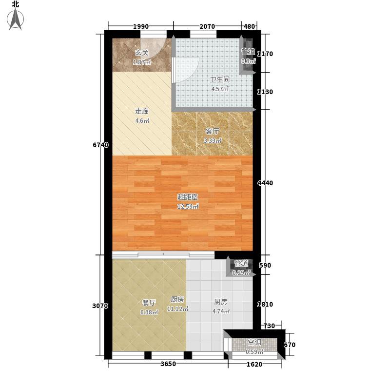 莱蒙城45.00㎡标准层02户型1室1厅