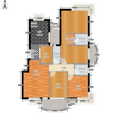 岳麓1号3室0厅3卫1厨190.00㎡户型图