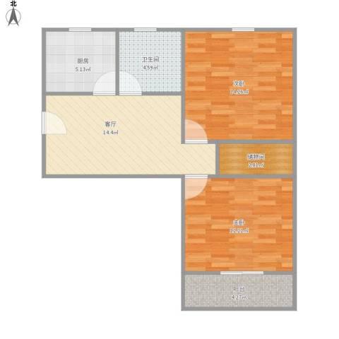 潼港六村2室1厅1卫1厨78.00㎡户型图