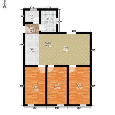 矿冶研究院3室0厅1卫1厨90.00㎡户型图