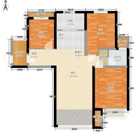 奥林匹克花园3室1厅1卫1厨93.46㎡户型图