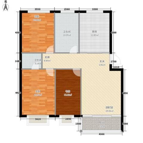 阳明山庄问蝶苑3室0厅2卫1厨144.00㎡户型图