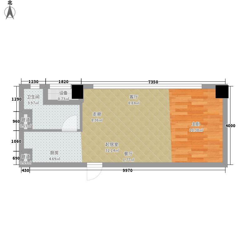 富力天贸广场51.00㎡E户型1室1厅