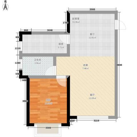 鲁辉国际城1室0厅1卫1厨77.00㎡户型图