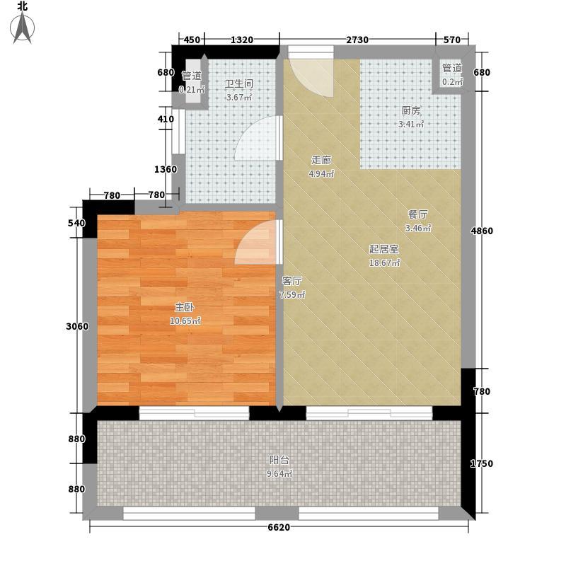 首创·湖畔思香小镇60.00㎡F户型1室1厅