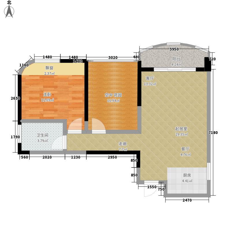 腾飞广场69.86㎡5号楼 E1户型1室2厅1卫