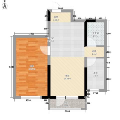 鲁辉国际城1室0厅1卫1厨67.00㎡户型图