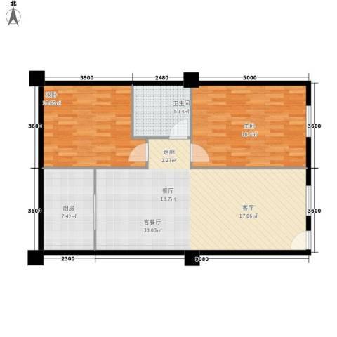 富仕雅庭2室1厅1卫1厨96.00㎡户型图
