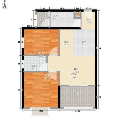 吉粮康城2室0厅1卫1厨76.00㎡户型图