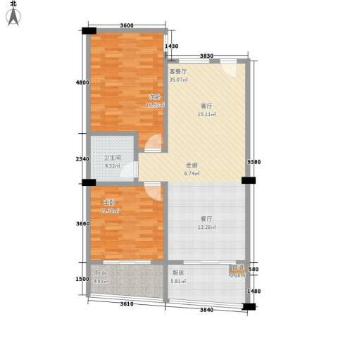 富仕雅庭2室1厅1卫1厨103.00㎡户型图
