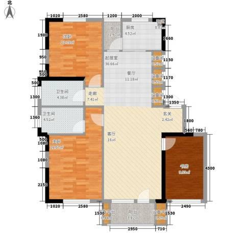 鲁辉国际城3室0厅2卫1厨123.00㎡户型图