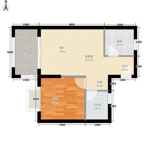 圣煜颐山居1室0厅1卫1厨57.00㎡户型图