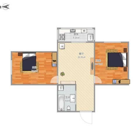 佳宁里2室1厅1卫1厨86.00㎡户型图