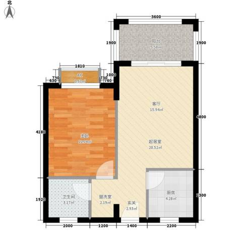 圣煜颐山居1室0厅1卫1厨53.24㎡户型图