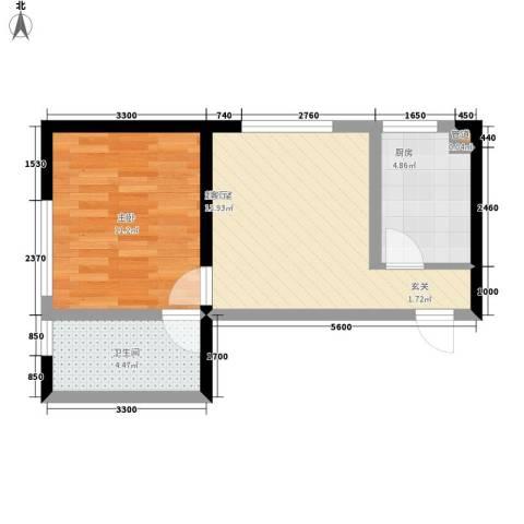 鲁辉国际城1室0厅1卫1厨52.00㎡户型图