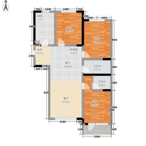 鲁辉国际城3室0厅2卫1厨130.00㎡户型图