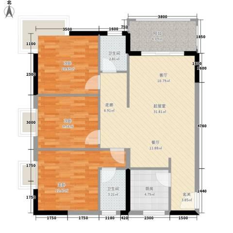 圣煜颐山居3室0厅2卫1厨90.96㎡户型图