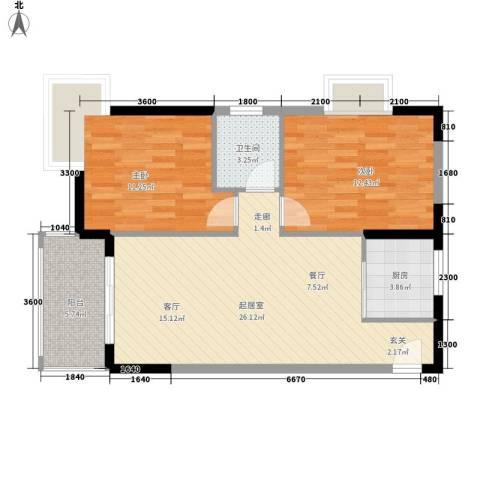 圣煜颐山居2室0厅1卫1厨69.98㎡户型图