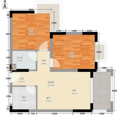 圣煜颐山居2室0厅1卫1厨64.32㎡户型图