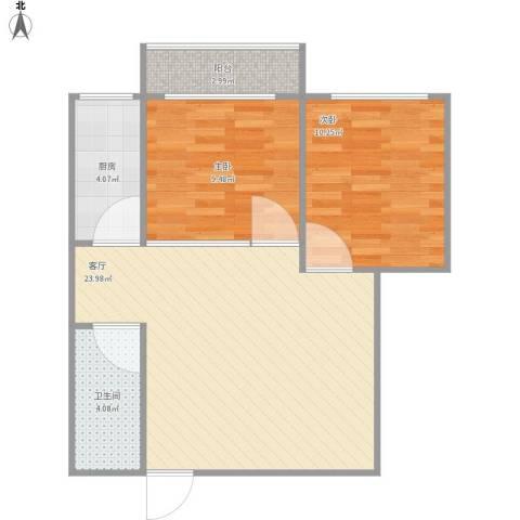 泰丰 时代城二期2室1厅1卫1厨74.00㎡户型图