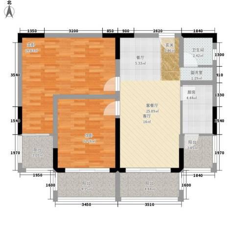 五指山澜湖岸边度假小区2室1厅1卫1厨91.00㎡户型图