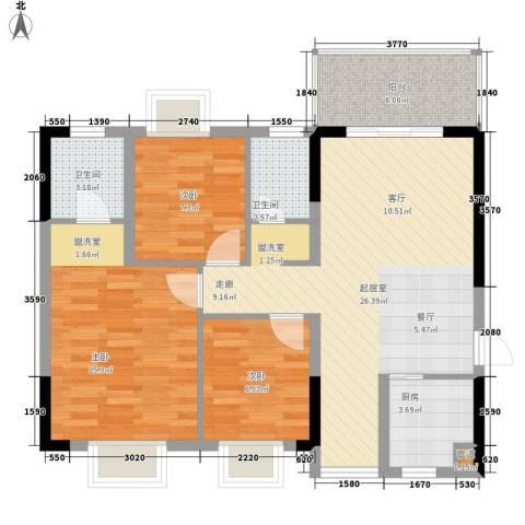 宜居莱茵城3室0厅2卫1厨99.00㎡户型图