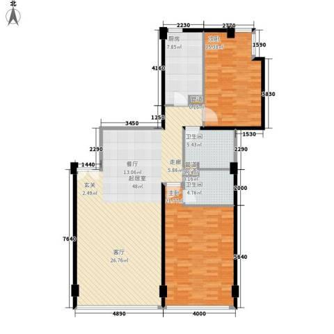 华贸国际公寓2室0厅2卫1厨155.00㎡户型图