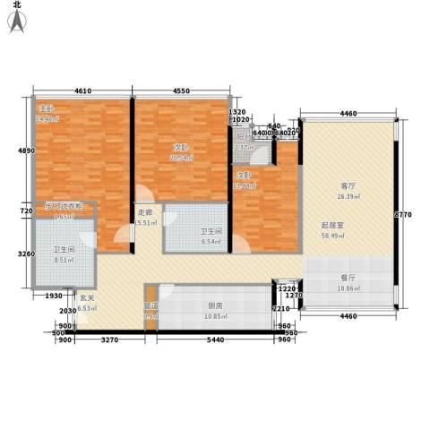 华贸国际公寓3室0厅2卫1厨162.00㎡户型图