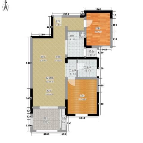 西南明苑2室0厅1卫1厨78.00㎡户型图