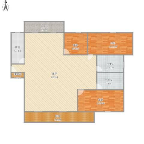 欧风家园3室1厅2卫1厨223.00㎡户型图