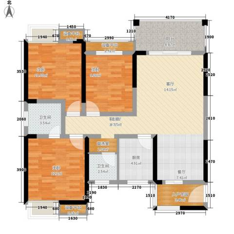 高鑫巴比伦花园3室1厅2卫1厨118.00㎡户型图